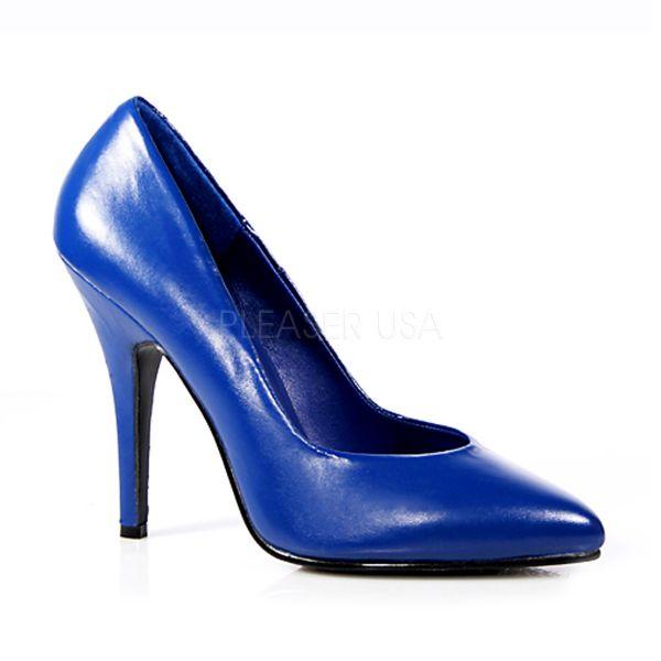 SEDUCE-420 Klassische blaue High Heel Leder Pumps